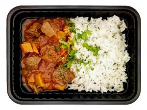 Говядина томлёная с овощами и рисом